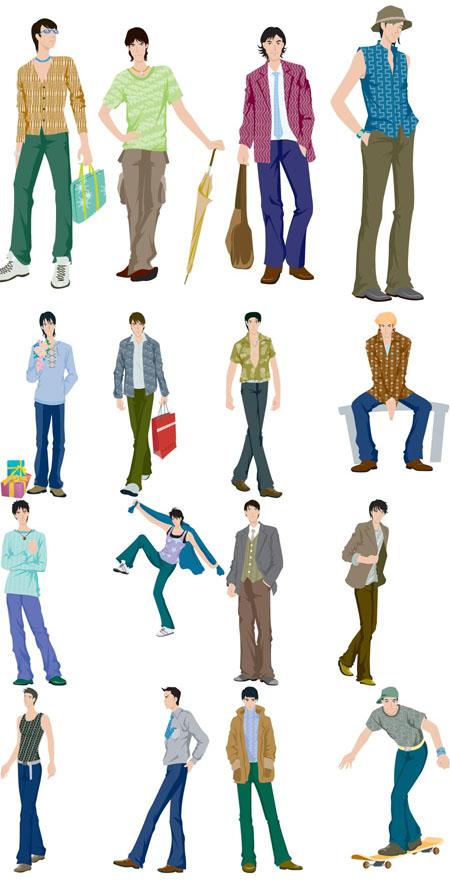 男性ファッションのイラストベクター画像48種類