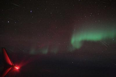 Quadrantid Meteors and Aurora from the Air