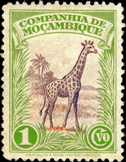 1937 Mozambique Company - Giraffe and Trees