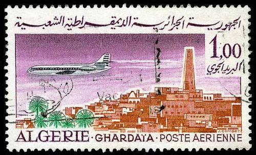 1962 Algerie  - Caravelle au-dessus de Ghardaia