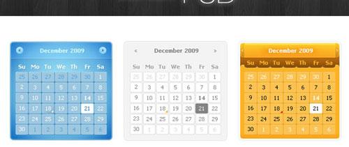 Calendars free psd file