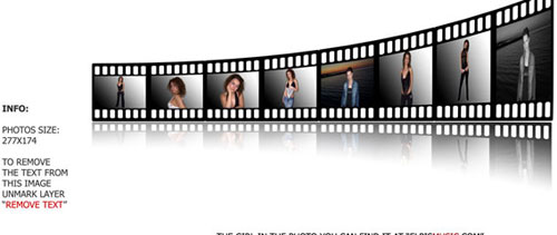 Film strip with reflection free psd file