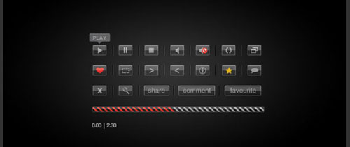 Glass video playback buttons free psd file