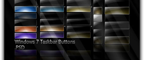 Win7 Taskbar Buttons free psd file