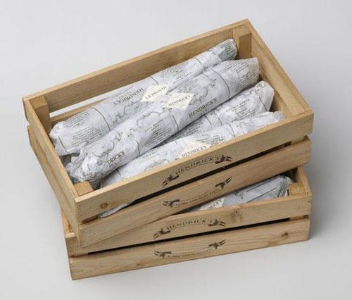 Hendrick's Cucumber Crates package design