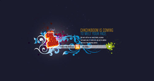 chkchkboom.com launching soon page design