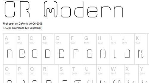 Download CR21modern free font