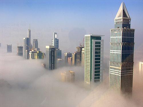 Fog at sunrise in Dubai photography