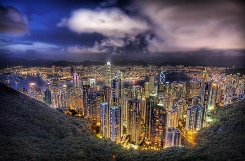 Hong Kong from the peak on a summer's night photography