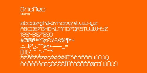 Download Oricneo Stencil free font