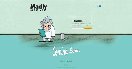 madlycreative.net launching soon page design