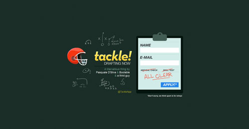 tackleapp.com launching soon page design