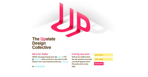 upstatedesign.org launching soon page design