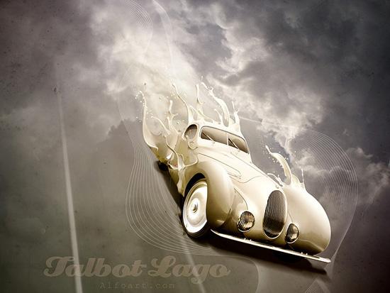 Luxury Retro Car Poster With Paint Splashing Effect