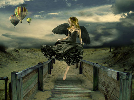 Design Surreal Composition Fallen Angels Dream Fly