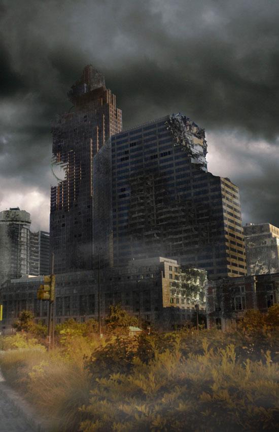 Create a Distressed Surreal Cityscape