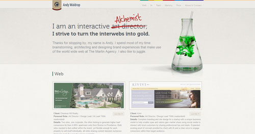 andywaldrop.com HTML5 and CSS 3 inspiration showcase site