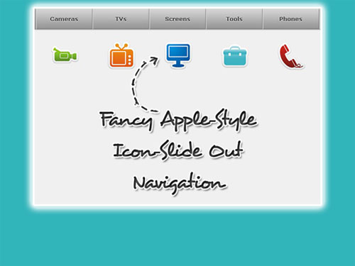 Fancy Apple-Style Icon Slide Out Navigation jquery tutorial