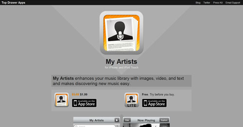 myartistsapp.com Selection Of 45 Sites That Are Neat Thanks To jQuery