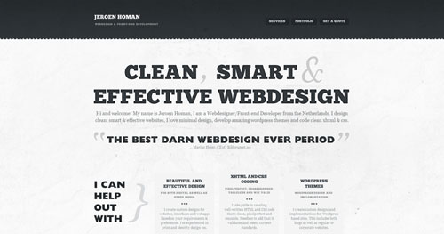 jeroenhoman.com HTML5 and CSS 3 inspiration showcase site